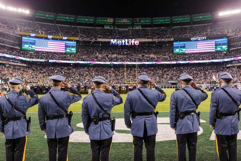 The New York Jets invited First Responders from New York and New Jersey onto the field as part of their Pre-Game Ceremonies for the 4th Annual First Responders Night, presented by MCU.