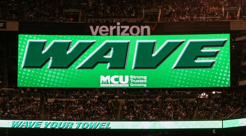 "The New York Jets and MCU gave more than 77,000 fans in attendance ""rally towels"" to help cheer on the Jets during the 4th Annual First Responders Night on Thursday, November 2nd.  During the game action, fans were asked to Wave their Towels in support of the Jets."