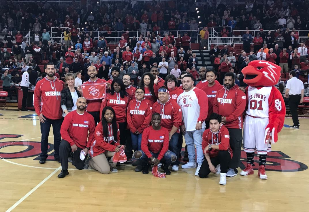 Municipal Credit Union proudly recognized 20 St. John's University students who are United States military veterans with the Most Valuable New Yorker (MVNY) Award at the St. John's University basketball game at Carnesecca Arena on Tuesday, January 23, 2018.