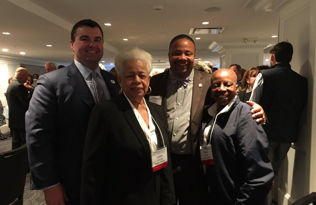 MCU Vice President of Public Relations and Corporate Communications  Michael Mattone (left), Loretta Jones (second from left), Cheryl Wright (right) meet with New York State Senator Jesse Hamilton at the New York Credit Union Association Governmental Affairs Conference Networking Reception on Monday, April 24, 2017. State Senator Hamilton represents the 20th district of New York, which includes neighborhoods such Crown Heights, Gowanus and Sunset Park in Brooklyn.