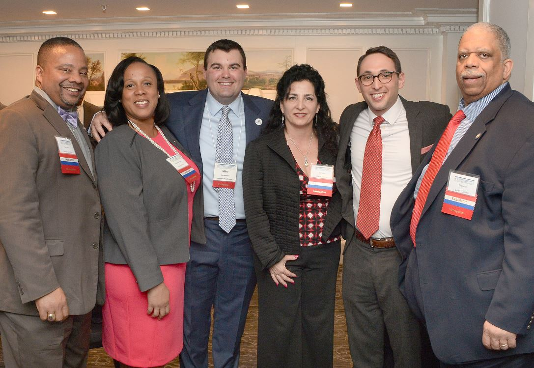 (from left to right) State Senator Jesse Hamilton, Assemblywoman Alicia Hyndman, MCU Vice President or Public Relations, State Senator Diane Savino, NYCUA Vice President of Governmental Affairs Michael Lieberman, and State Senator Leroy Comrie meet at the New York Credit Union Association Governmental Affairs Conference Networking Reception on Monday, April 24, 2017. The legislators all proudly represent neighborhoods throughout the New York City area where MCU members work and live.