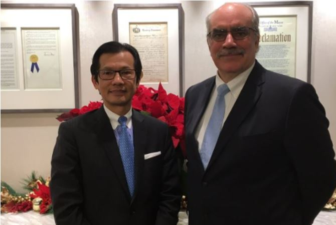 MCU President/CEO Kam Wong (center) met with World Council of Credit Unions (WOCCU) President/CEO Brian Branch on Friday, December 1, 2017 .